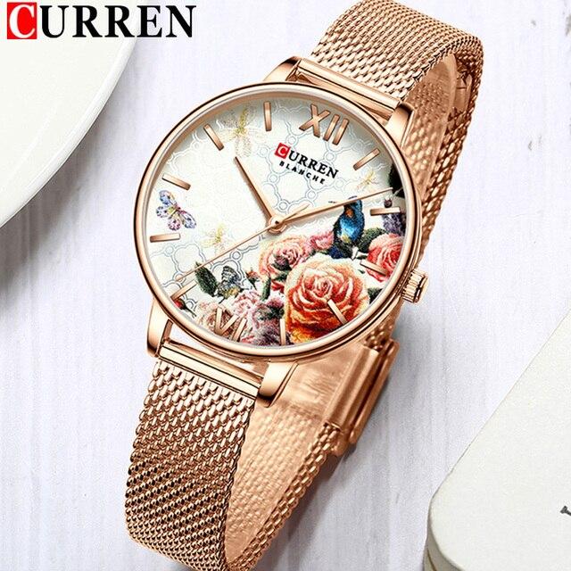 CURREN Frauen Uhr Top Marke Luxus Schwarz Weibliche Wasserdichte Uhr Mesh Edelstahl Armband Blume Damen Armbanduhr 9060