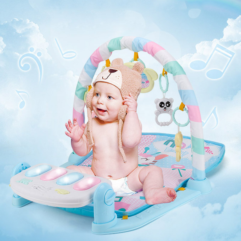 все цены на Russia shipping Baby Play Mat Fitness Bodybuilding Frame Pedal Piano Music Carpet Blanket Kick Play Lay Sit Toy YH-17