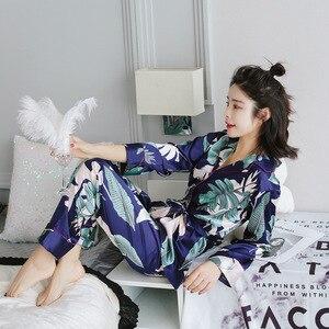 Image 4 - ZOOLIM jesień kobiety jedwabna piżama zestawy satynowa piżama moda bielizna nocna dwa kawałki + pas kobieta Homewear drukuj Sleep Lounge