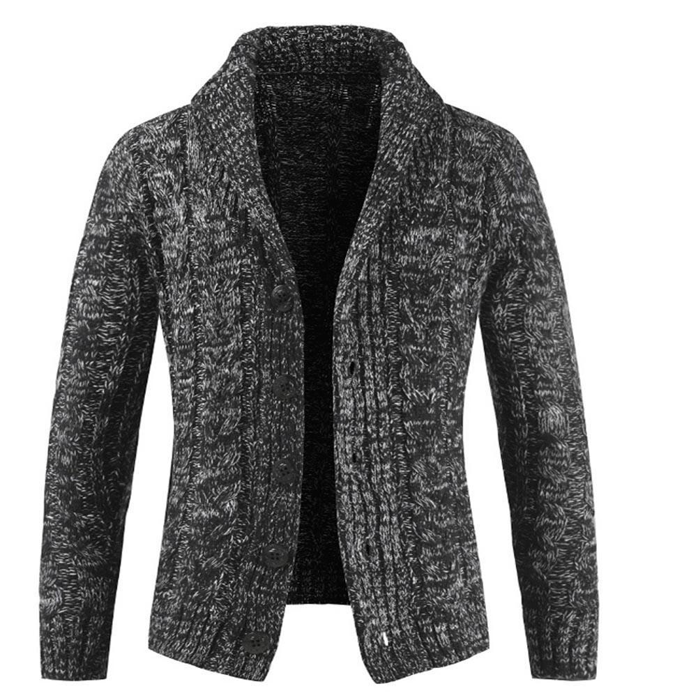 Wholesale Winter Men Solid Color Turn Down Collar Long Sleeve Slim Fit Crochet Cardigan