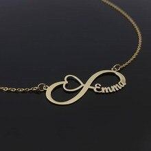 7f15e2fa8fb1 Personalizado infinito corazón collar Rosa oro cadena nombre personalizado  colgante collares para Mujeres Hombres joyería pareja