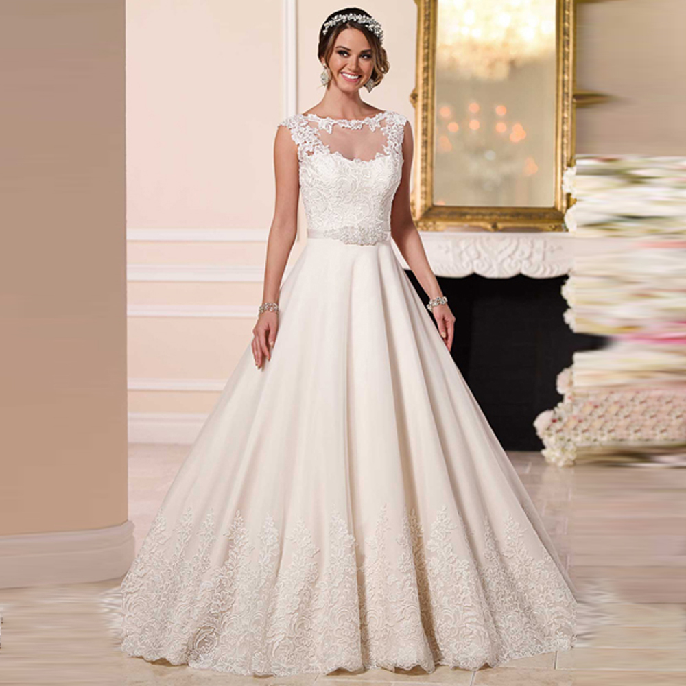 Most Por Lace Princess Liques Boat Neck With Removable Jaket Custom Fit Bridal Vestido For Wedding Dresses In From