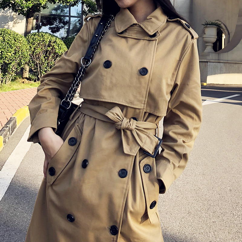British Double Breasted Slim Long   Trench   Coat Windbreaker Women Casual Solid Color Outwear With Sashes Office Coats