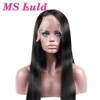 לולה MS גודל בינוני פאות שיער אנושי תחרה מול עם תינוק שיער רמי שיער חלק ברזילאי 100% משלוח חינם