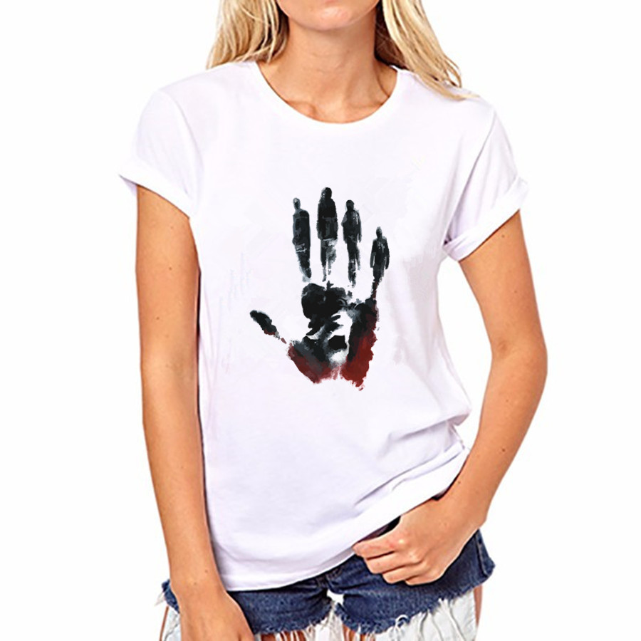 2016 Summer Autumn Women Black handprint Print 20 Colors Short Sleeve Women O neck Blouses Cotton Shirts Blusas FS50-WB-YH161