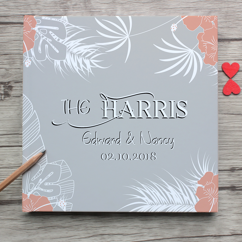 Unique Custom White Wedding Guest Book,Padded Hardcover Personalized White Wedding Guest Book Sign,Photo Album,Gift & Mementos