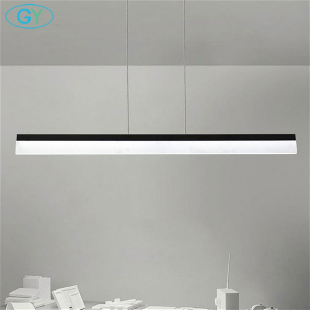 Modern office pendant light, L80cm or L100cm long bar led hanging lamp, industrial 20W 24W office meeting room island lighting 1200 150mm 24w led panel light smd2835 school hospital super market workshop office home hotel meeting room lighting white
