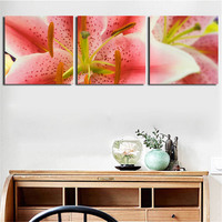 3 Panel Combined Flower Paintings Pink Lily Wall Art Picture on Canvas Red Rose Decor Artwork for Living Room with Woonden Frame