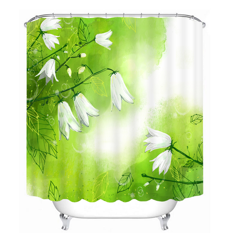 New 3D Shower Curtains Bathroom Products Green And Green Big Flower Bathroom Curtain Waterproof Bath Curtain With 12pcs Hooks