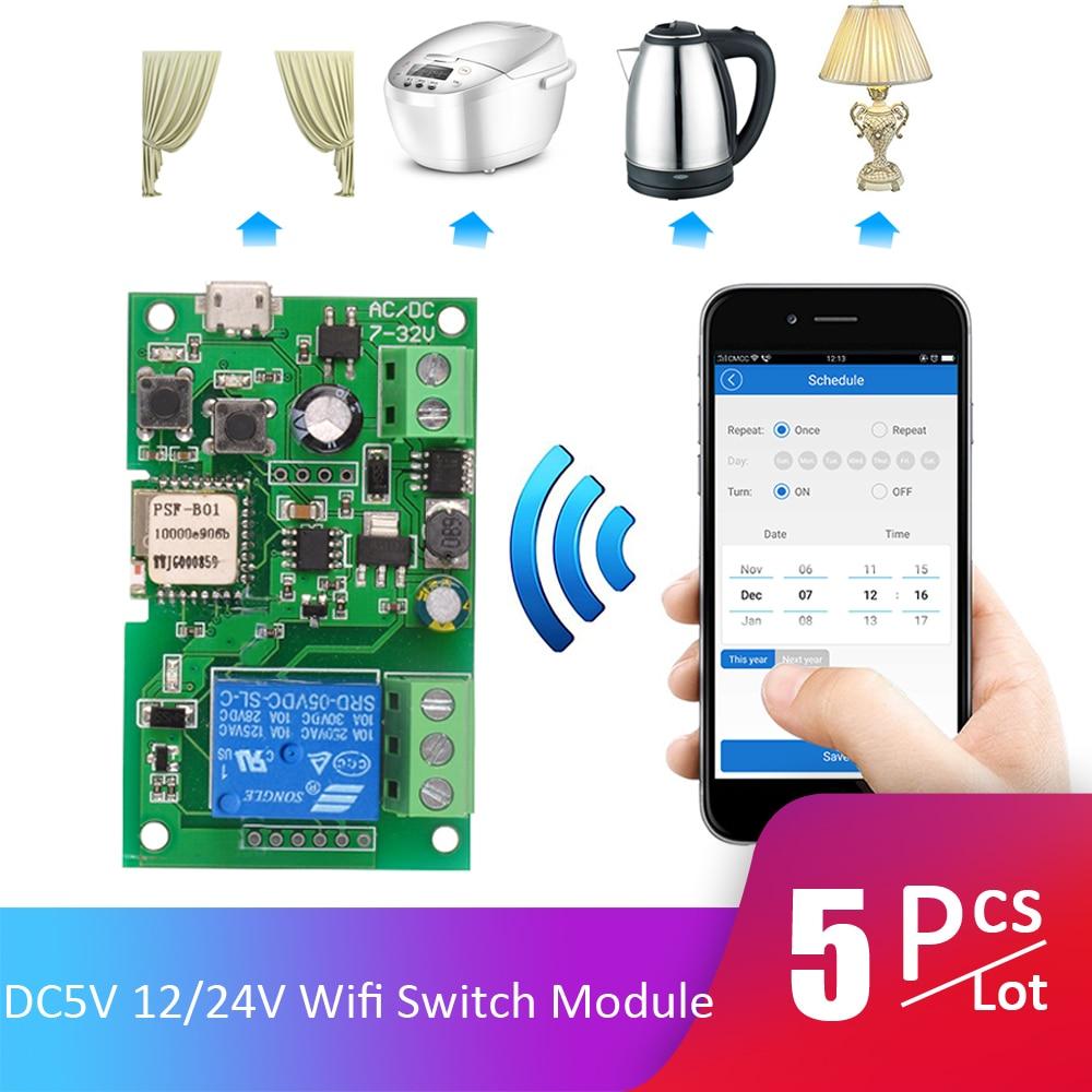5pcs Lot DC5V 12V 24V 32V Wifi Switch Wireless Relay Module Smart Home Automation Modules APP