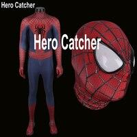 Герой Catcher Высокое качество 3D паутины удивительный костюм Человека паука с рельефом паук новейший Человек паук спандекс костюм вечерние