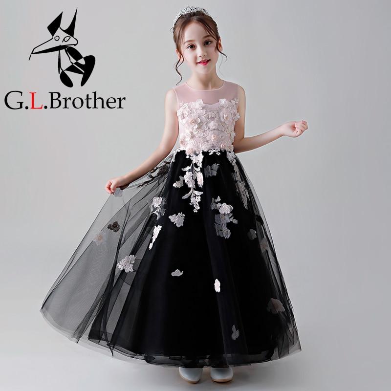 2018 New Flower Girl Dresses Appliques Kids Girls Party Dress For Wedding Birthday Long Tutu Princess Dress Ankle-Length AA264