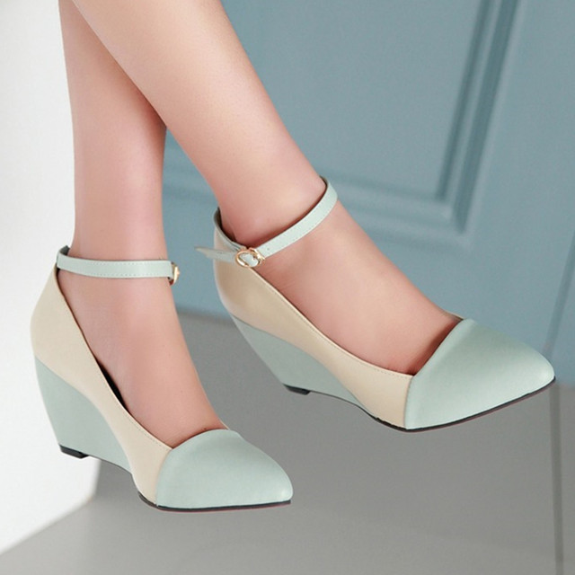 Meotina Shoes Women Pumps Autumn Pointed Toe Ankle Strap High Heels Wedges Shoes Blue Black Ladies Shoes Big Size 40 41