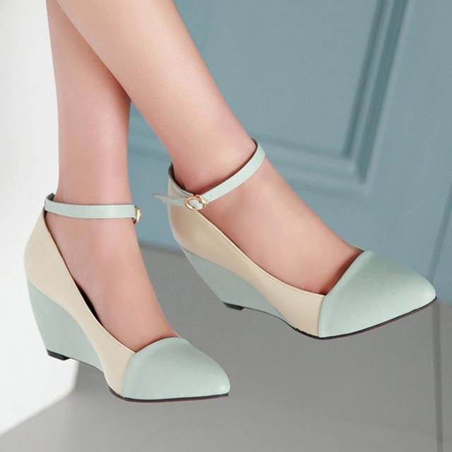 Meotina zapatos mujeres bombas otoño punta estrecha correa del tobillo tacones Cuñas Zapatos Azul Negro Zapatos de Las Señoras Tamaño Grande 40 41