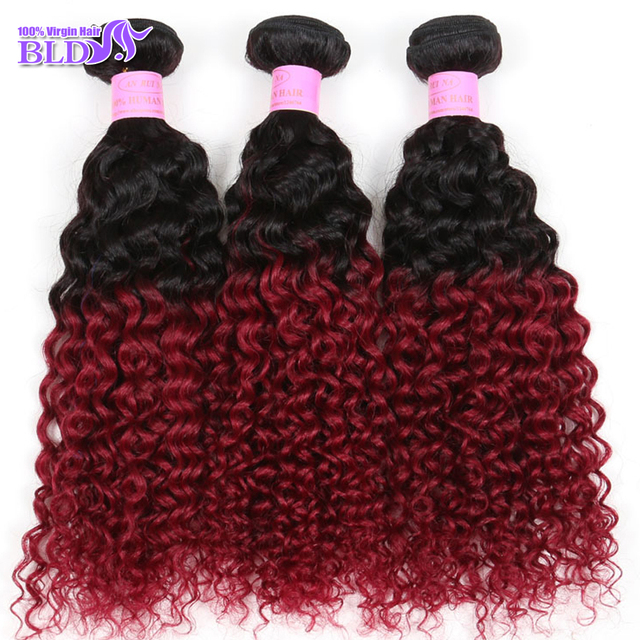 "Brazilian Virgin Hair Curly Wave Ombre 1B Burgundy Red Brazilian Hair Extension 10""-30""Brazilian weave Bundles 3pcs Free Shiping"
