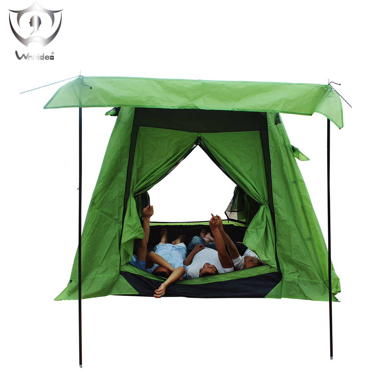Wnnideo Outdoor Instant 3-4 Person Tent Double Layer Camping Tent One Bedroom One Living-room Waterproof 235*235 cm ZF6-2406 naturehike 3 person camping tent 20d 210t fabric waterproof double layer one bedroom 3 season aluminum rod outdoor camp tent