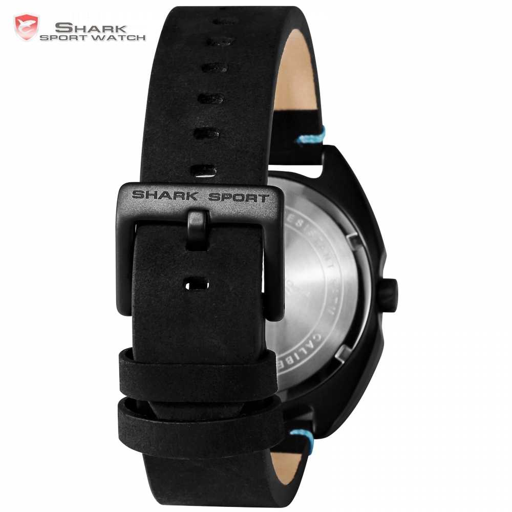 f77ab68a8 ... New Collared Carpet Shark Sport Watch 3D Blue Dial Unique One Hour Hand  Design Leather Band