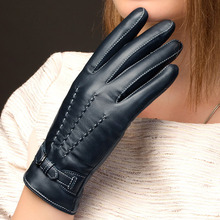 Sheepskin Real Leather Gloves Female Plus Velvet Autumn Winter Keep Warm Navy Blue Womans NW707-1
