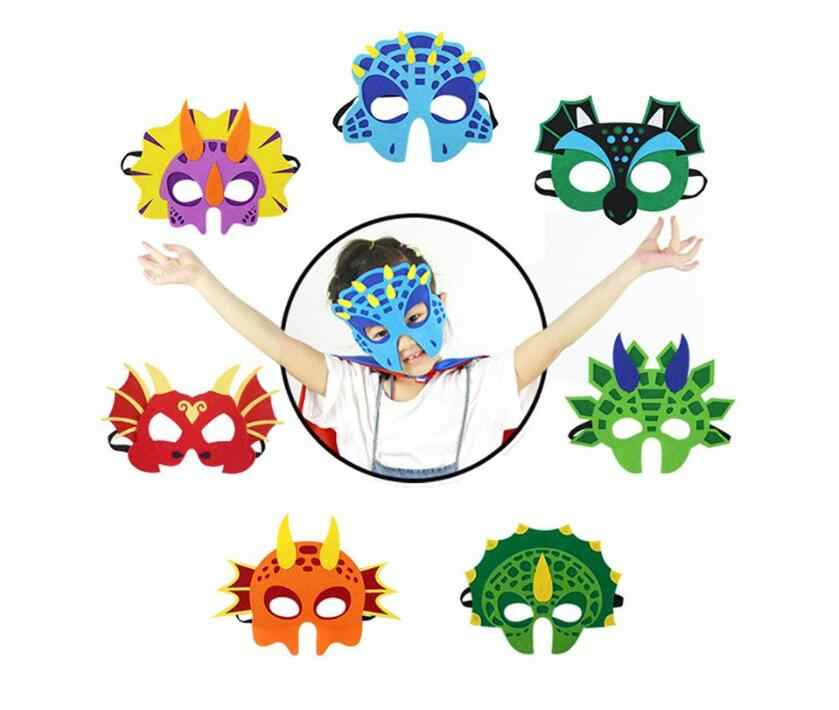 7pcs Dinosaur Party Masks Animal Decorative Party Favors Face Mask for Themed Party Masquerade Dress up  Halloween Cosplay Mask