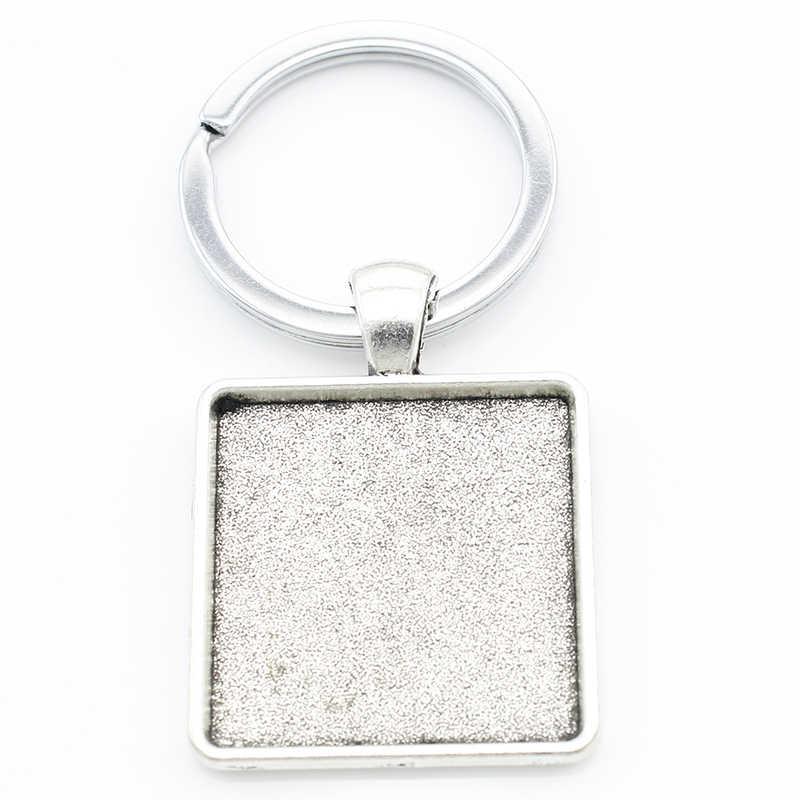 TAFREE простая металлическая подвеска квадратное кольцо для ключей подвеска с художественным изображением брелок со стеклянным кабошоном для друга подарок ювелирные изделия WR04