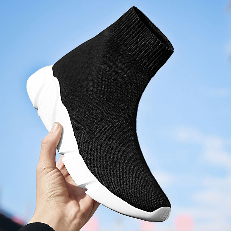 MWY Socks Shoes Wedge Ankle-Boot Female Sneakers Soft-Sole Zapatillas Elasticity Breathable