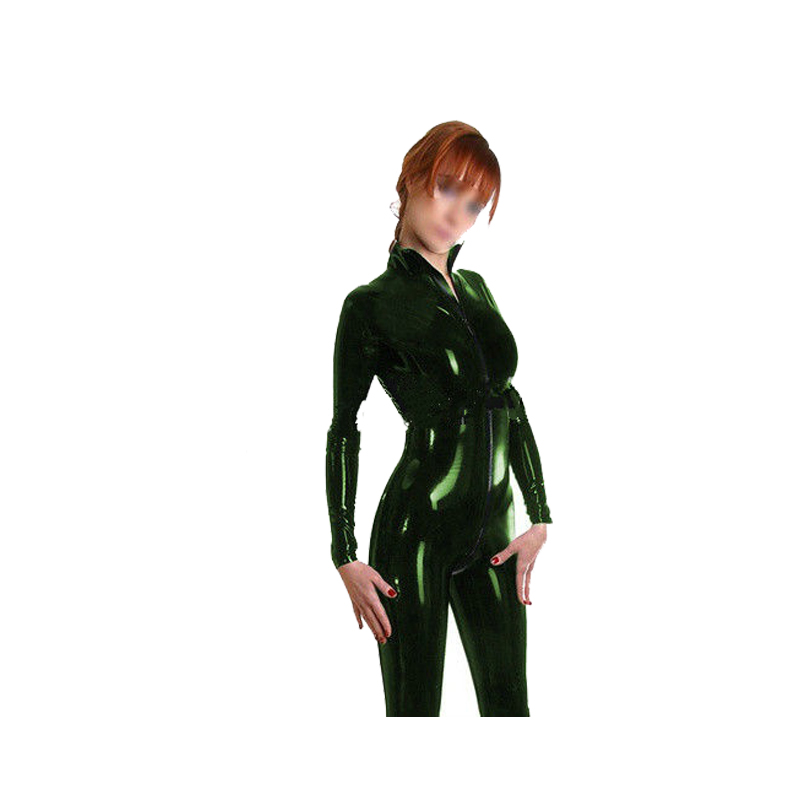 Latex Suits Rubber Metal Green Catsuit Bodysuit with Zipper Size XXS-XXL