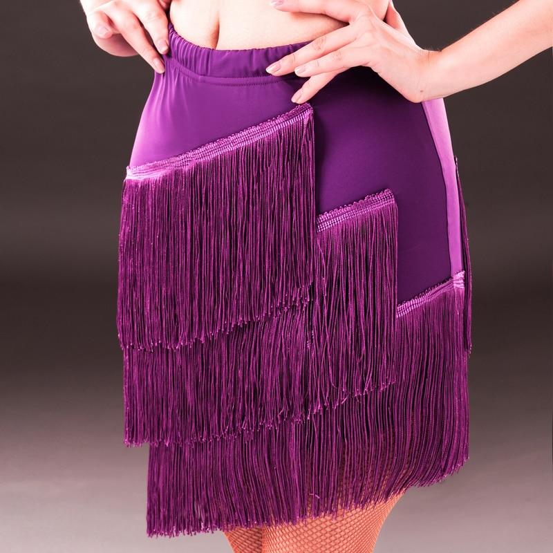 2016 Women's Latin Dance Skirt Salsa Tango Rumba Cha Cha Ballroom Three Layer Tassel Short Skirts Sexy Lady Latin Dance Dress