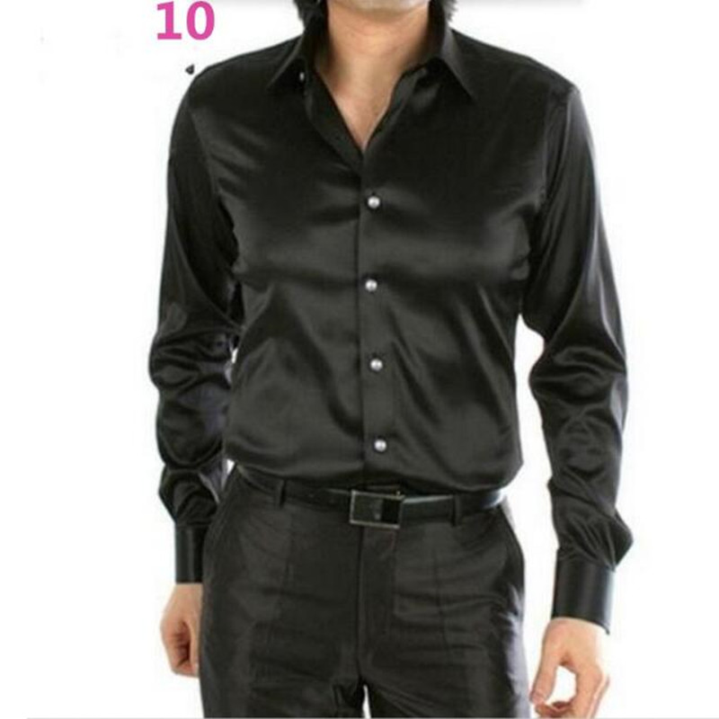 Men Dress Shirt Custom Casual Suits Silk Satin Long sleeve Casual ...