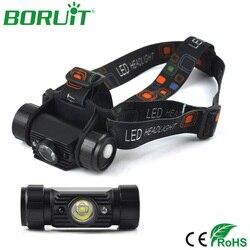 Налобный фонарь BORUiT Mini с инфракрасным датчиком, перезаряжаемый через USB Водонепроницаемый налобный фонарь 18650 с аккумулятором