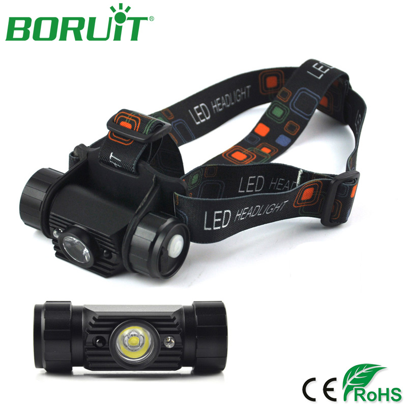 BORUiT Mini IR Sensor Headlamp Induction Flashlight USB Rechargeable Headlight Waterproof Camping Head Torch Light 18650 Battery
