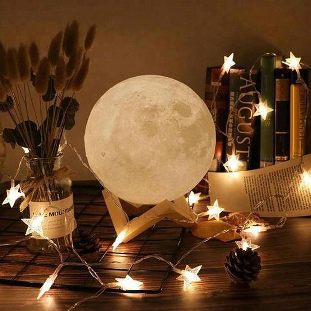 15cm Night 3D Printing Moon Light Customized Personality Lunar USB Charging Lamp Touch Control Two Color Change Bedside Lamps