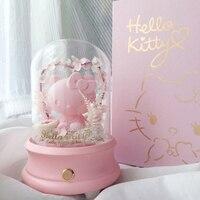 Новый японский hello kitty прессованный свежий цветок Bluetooth беспроводной динамик розовый в любви музыкальная шкатулка Ночник подарок на день ро