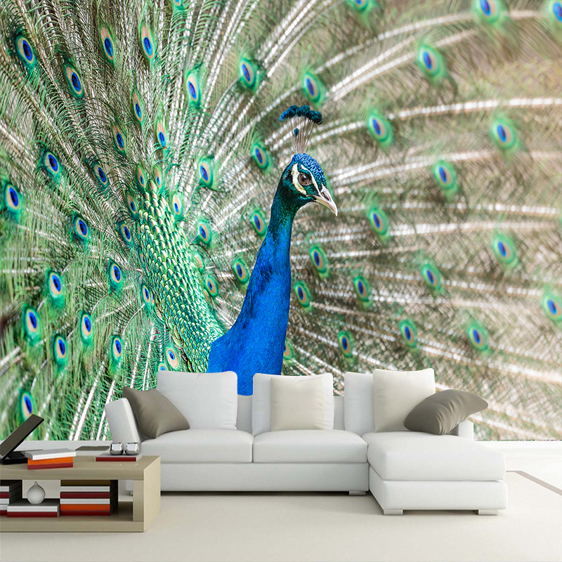 Custom Any Size HD Photo 3D Peacock Photo Wallpaper Mural 3d Wall paper for Living Room Bedroom TV Background Decor Wall papers custom any size mural wallpaper 3d stereoscopic universe star living room tv bar ktv backdrop bedroom 3d photo wallpaper roll