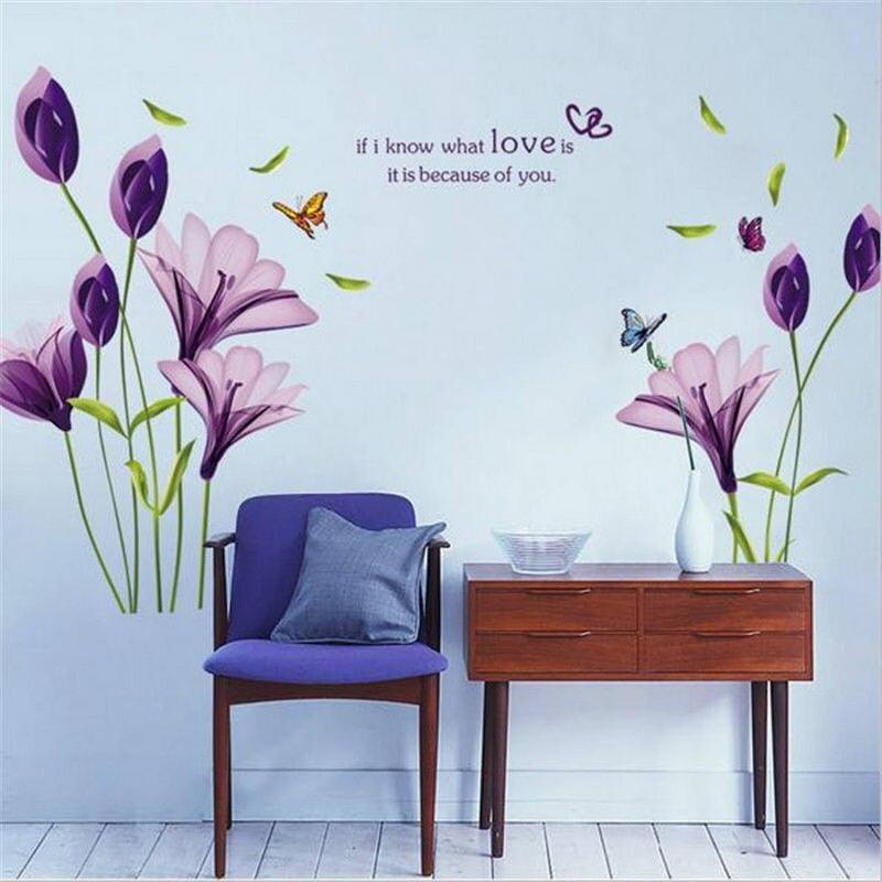 1 Stck PVC Wandaufkleber Lila Blume Kunst Wandtattoo Removable Home Wohnzimmer Schlafzimmer Bro DekorationChina