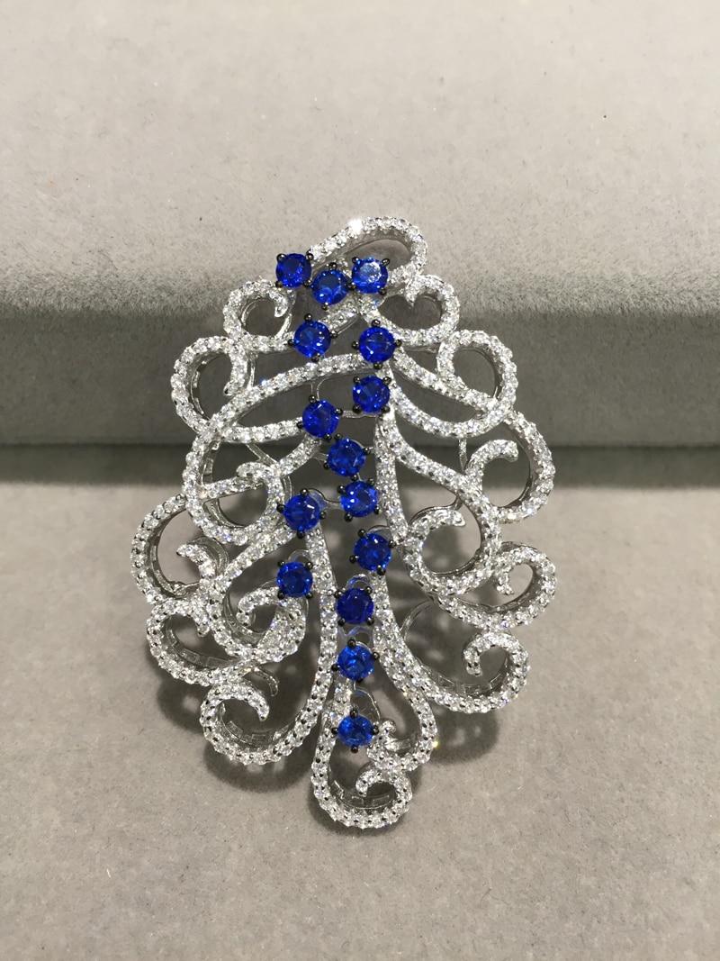 Connecteurs de bricolage pour la fabrication de bijoux collier ou bracelet en argent sterling 925 avec zircon cubique composants de bijoux bleu