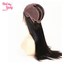 Halo Lady Beauty Full Lace Wigs With Baby Hair Preplucked Peruvian Straight Hair Wigs 130 Density