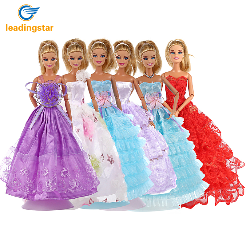 LeadingStar 6Pcs Multi-Style Barbie Doll Handmade Fashion Wedding Party Gowns Dresses with 80pcs Barbis Accessories for Kids 35 2017 spring autumn shoes shallow mouth pointed toe fashion high heeled velvet thin heels pumps office party shoes