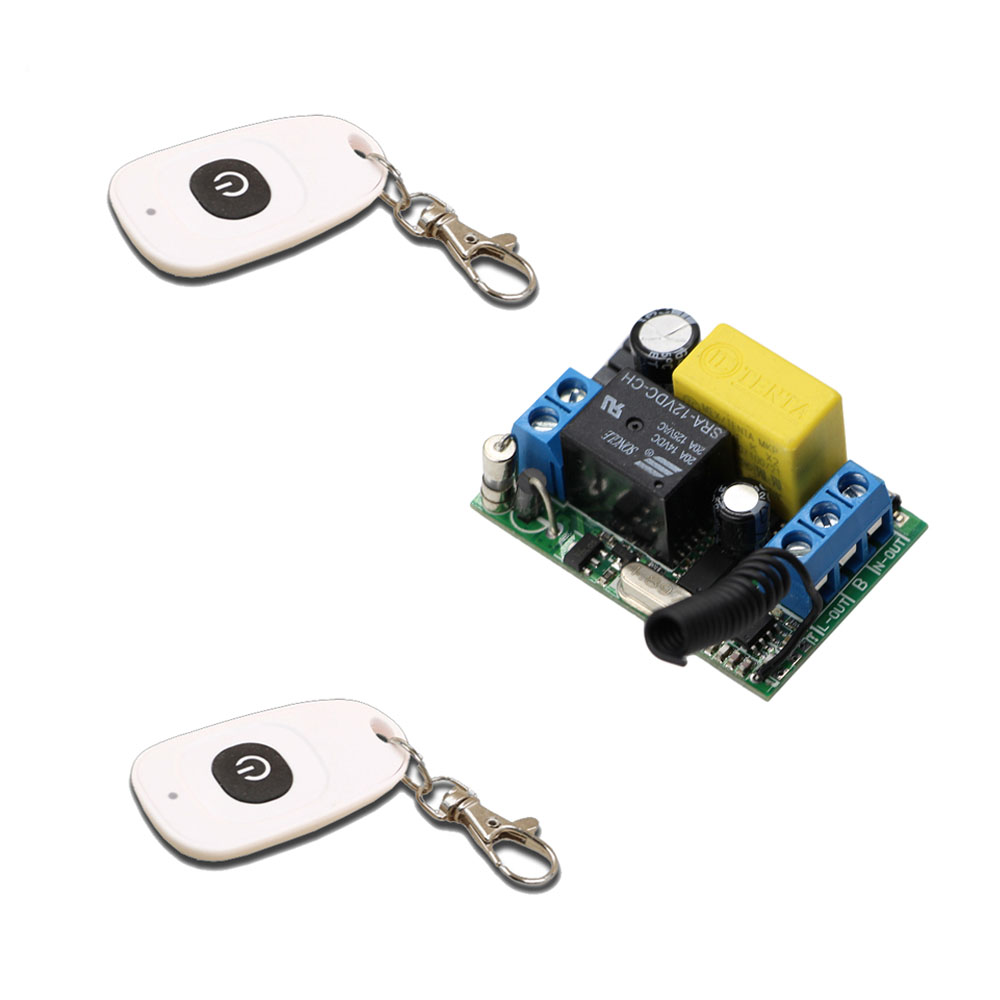 цена на Free Shipping 220V 10A Relay Wireless Remote Control Switch Receiver with 2pcs Remote Controls For Lighting Lamp LED Water Pump