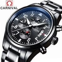 Карнавал Элитный бренд Водонепроницаемый 30 М Спорт Для мужчин Часы супер световой Кварцевые Военная Униформа хронограф черный Сталь часы