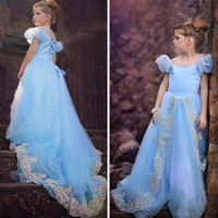 2016 Summer Style Girl Dress Princess Elsa Dress Children Snow Queen Cosplay Costume Baby Kids Clothes