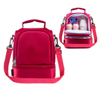 New Design Thick Warm Thermal Insulated Boxes Nylon Lunch Bag Red Lunch Bags Tote With Zipper