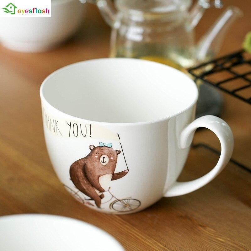 700ml Naughty Bear style  Nordic style Bone China  Ceramic tea milk cup Mug Ceramic  Coffee Cup Office Water Mug