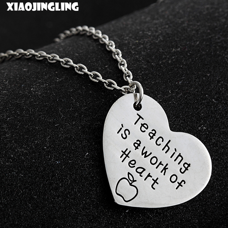 XIAOJINGLING Fashion Long Necklace Teaching Is a Work Of Heart Teachers Day Gift Heart Necklaces & Pendants For Women Jewelry