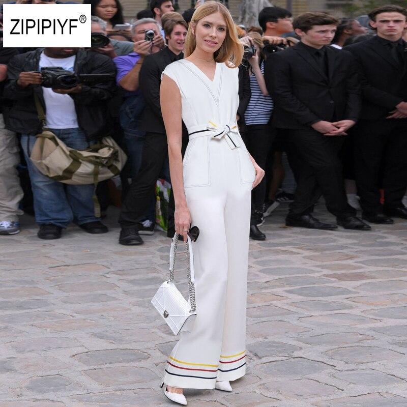 Striped Print Zip Back Sleeveless Jumpsuit Elegant 2018 New Women V Neck Pocket High Waist Belted Slim Wide Leg Jumpsuit B1034