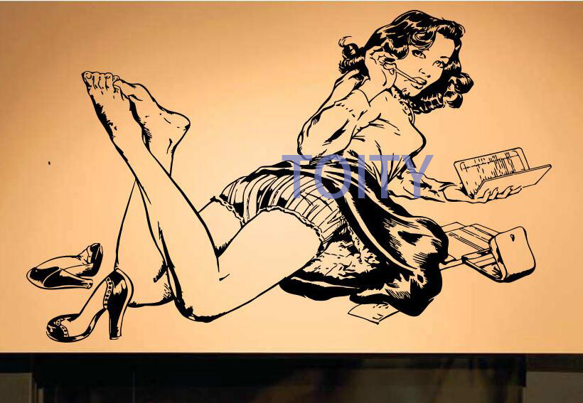 Sexy Pin Up Girl Wall Decal Hot Women Poster Vinyl Decal Room Decor ...
