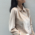 YNZZU Casual Autumn Fashion Velvet women tops long sleeve female blouses OL office ladies shirts buttons shirt YT159