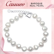 Cauuev Genuine Natural Freshwater Baroque Pearl Bracelets Bangles For Women 9-10mm Charm Jewelry 925 Sterling Silver Jewelry2019(China)