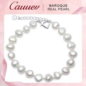 7f4543b40e70 De alta calidad de perlas naturales de agua dulce pulseras de regalo para  las mujeres precio increíble 8-9mm de joyería de perlas pulsera de plata  925 ...