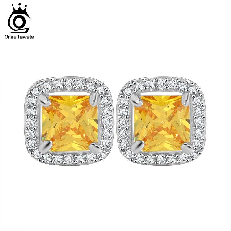 ORSA JEWELS Princess Cut Yellow Zircon Earring Stud with AAA Grade Micro Paved CZ Luxury Earring for Women OE123