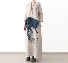 2017female spring new arrival national trend plus size loose fluid print full dress